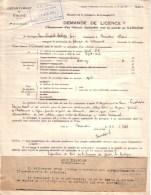 RHÔNE - GRANDIS - DEMANDE DE LICENCE D´EQUIPEMENT D´UN VEHICULE POUR LA MARCHE AU GAZOGENE - 1941 - Voitures