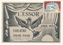 D24185 CARTE MAXIMUM CARD 1955 TUNISIA - L'ESSOR THEATRE POUR TOUS CP ORIGINAL - Tunisia