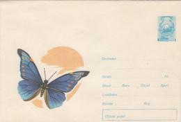 BUTTERFLY, COVER STATIONERY, ENTIER POSTAL, 1966, ROMANIA - Schmetterlinge