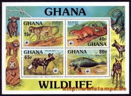 """60% DISCOUNT WWF - GHANA - 1977  - Miniature Sheet : Set Of 4 Stamps  - SS"" - W.W.F."