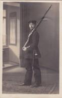 Foto Deutscher Soldat Jäger Bataillon 5 ? Grünberg Schlesien 1.Weltkrieg Gewehr Bajonett - Krieg, Militär