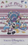 Télécarte Métal ARGENT Japon / MF-1001849 - DISNEY SEA - Mickey Minnie Donald Dingo - Japan SILVER Phonecard - Disney