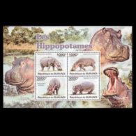BURUNDI 2011 - Scott# 826 S/S Hippopotames MNH - Burundi