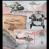 BURUNDI 2012 - Scott# 1088 S/S Helicopter MNH - 2010-..: Nuevos