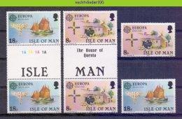 Mwe2301 FAUNA ZOOGDIEREN BOERDERIJ KOEIEN SAILING SHIP COWS MAMMALS FARM ANIMALS * GUTTERPAIR * ISLE OF MAN 1981 PF/MNH# - Koeien