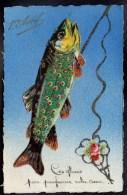 CPA A SYSTEME AJOUTIS DECOUPIS CHROMO PAILLETTES ARGENTEE 1er AVRIL Poisson Humanisé Truite Canne à Pêche  -#125 - 1er Avril - Poisson D'avril