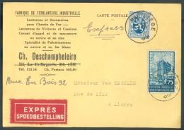 BELGIQUE  -  1F75 Expo De Bruxelles + 50 Centimes LION Obl. Sc LIEGE 3 Sur Carte à En-tête (Fabrique De Ferblanterie Ind - Timbres