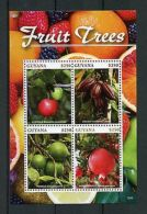 Guyana 2015 MNH Fruit Trees 4v MS Fruits Acerola Cocoa Pomelo Pomegranate Stamp - Plants