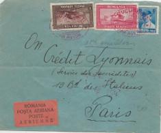 ROUMANIE - 1928 - ENVELOPPE Avec OBLITERATION POSTE AERIENNE De BUCAREST Pour PARIS - Marcofilia