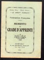(franc Maçonnerie) : Plaquette:mémento Du Grade D'apprenti 1952 (F.0805) - Livres, BD, Revues