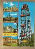 Jolie CP Autriche Osterreich Gruss Aus Wien Multivue Vienne - CAD 10-08-1988 / 1 TP - Flamme Steiermark - Grande Roue - Vienne