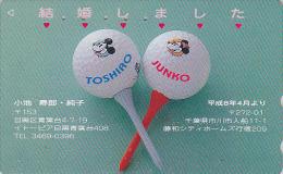 Télécarte Japon / 110-011 - DISNEY - MICKEY & MINNIE - Sport GOLF - Japan Phonecard Telefonkarte - Disney