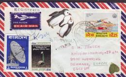 Bangladesh Air Mail Par Avion Registered Einschreiben BHANDARIA 1978 Cover Brief Olympic Games Satellite Penguin Sticker - Bangladesch