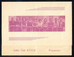Barcelona. Teatro Club Atusa *La Herida Del Tiempo* Impreso Díptico 1960. Meds: 123 X 162 Mms. - Programas