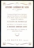 Barcelona. Centro Católico De Sans. *Función De Homenaje...* Impreso Díptico. Meds: 118 X 171 Mms. - Programas