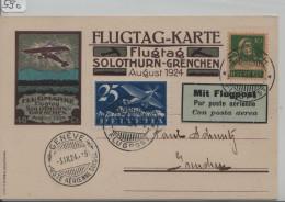 1924  Flugtag Karte Solothurn-Grenchen August - Stempel: Zürich Flugpost + Geneve Poste Aerienne F5 - Poste Aérienne