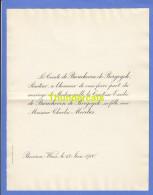 FAIRE PART MARIAGE COMTE DE BROUCHOVEN DE BERGEYCK CHARLES MORETUS BEVEREN WAES 1900 - Mariage