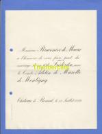 FAIRE PART MARIAGE BRACONIER DE MACAR FREDERIKA COMTE ADELIN DE MAROTTE DE MONTIGNY CHATEAU DE BOMAL 1892 - Mariage