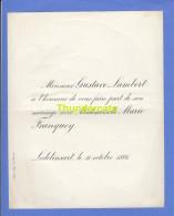 FAIRE PART MARIAGE GUSTAVE LAMBERT MARIE FRANQUOY LODELINSART 1886 - Boda