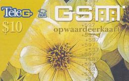 SURINAM - Flower, Teleg Prepaid Card 10$, Used