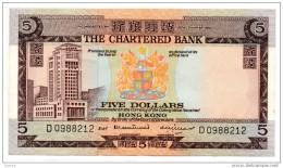 """China Chine : Hong Kong 5 Dollars """"The Chartered Bank"""" Bon Etat - Hong Kong"""