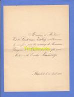 FAIRE PART MARIAGE T'SERSTEVENS NICOLAIJ GREGOIRE EMILIE MASSANGE STAVELOT 1898 - Wedding