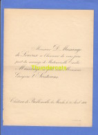 FAIRE PART MARIAGE MASSANGE DE LOUVREX MASSANGE GREGOIRE T' SERSTEVENS CHATEAU DE BAILLONVILLE LEZ MARCHE 1898 - Wedding