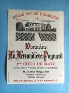 1133 -  Domaine La Ferrandière - Puynard 1981  Premières Côtes De Blaye - Bordeaux