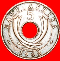 § HOLE: EAST AFRICA ★ 5 CENTS 1942! LOW START ★ NO RESERVE! WWII (1939-1945) George VI (1937-1952) - British Colony