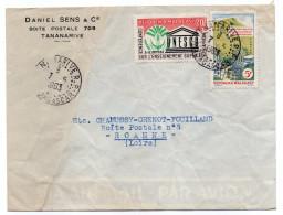 Madagascar-1963--Lettre De TANANARIVE  Pour Roanne (France)--Composition De Timbres--cachets - Madagascar (1960-...)