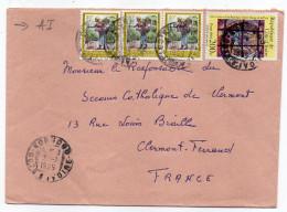 COTE D'IVOIRE--1985--Lettre De KORHOGO Pour CLERMONT-FERRAND (France)--Composition De Timbres--cachets - Côte D'Ivoire (1960-...)