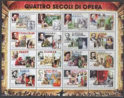 SAN MARINO, MNH, FOUR CENTURIES OF OPERA, PUCINI, VERDI, WAGNER, MOZART, SHEETLET OF 16v - Music