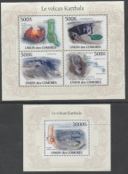 COMORES,2010, MNH, VOLCANOES OF COMORES, MOUNT KARTHALA OFIFICIAL ISSUE,   SHEETLET + S/SHEET - Volcanos