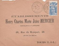 GANDON 15F + PUB BIC QUE ENV OUCOUES 28/4/1954 POUR TOURS               TDA120 - Advertising