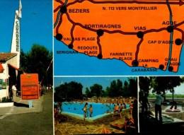 34-VIAS SUR MER..CAMPING-CARAVANING LA CARABASSE..4 VUES....CPM ANIMEE - Autres Communes