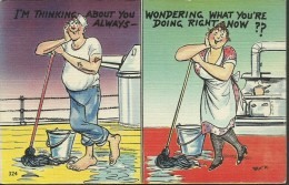 """American ´Sailor Comic´ Picture Postcard - """"I'm Thinking About You Always ..."""" - Unused - W516 - Humour"""