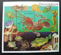 Somalia Marine Life 1998 Fish Octopus Sea Shell Crab Ray Prawn Underwater Ocean Creatures Lobster (miniature Sheet) MNH - Somalia (1960-...)