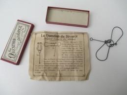 """Jeu Ancien/""""La Question Du Divorce """"/Casse-tête/J F J  /Paris / Avec Solution/Vers 1880-1900    JE165 - Casse-têtes"""