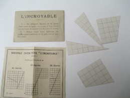 """Jeu Ancien/""""L' Incroyable """"/Casse-tête Sous Enveloppe/J F J  /Paris / Avec Solution/Vers 1880-1900    JE173 - Casse-têtes"""