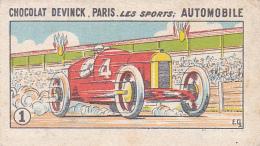 """Image Illustrée Par E.Ch 56 X 98 Mm """" Chocolat DEVINCK, Paris . Les Sports: Automobiles - Bolide Sur Un Circuit - Cioccolato"""