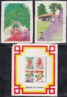Bhutan 1997 50th  Anniversary Of India´s Iindependence Gandhi, Buddha, Sheet 4v, & 2 M/sheets Complete Serie, FINE USED - Bhutan