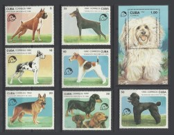 Cuba 1992 Yvert 3190/3196 **+ Bloc 129 **  Chiens  Dogs Perros Cani Shar Pei Cocker Boxer Danois Teckel Doberman Caniche - Perros