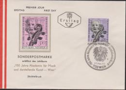MB 3607) Österreich 1967 Mi# 1253 FDC: Schnecke Und Wirbel Einer Violine, 150 Jahre Akademie Für Kunst Und Musik - Music