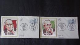 FRANCE FDC 2 Enveloppes SOIE 1er Jour 2 Oblit. Professeur ROBERT DEBRE 1982 Paris Sedan - Timbre Poste - 1980-1989