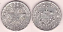 1934-MN-102 CUBA. 1934. ESTRELLA STAR. 1$ SILVER 26.7gr. - Cuba