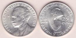 1953-MN-111 CUBA. 1953. CENTENARIO DE MARTI. 25c SILVER 6.5gr. XF PLUS. - Cuba