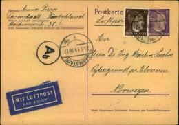 1944, Luftpostkarte Im Europaporto Ab DARMSTADT Nach Norwegen. - Germany