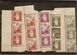 Belgique N° 280a X3 + 284Ax 3 + 287a X3 Sans Charnierés + 15 Vignettes ** - Unused Stamps