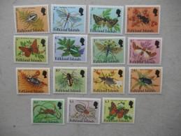 Y182 Falkland - 390 - 404 Mnh, Spinnen Insekten Schmetterlinge - Falkland