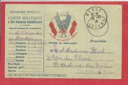 Y &T N°  CARTE   MILITAIRE REG 46 27 Eme CIE  MENDE Vers ST ANTOINE DU ROCHER  1914  2 SCANS - Tarjetas De Franquicia Militare